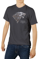 LOGO STARK ESCUDO METALICO CAMISETA GRIS VHS CHICO T-XL GAME OF T